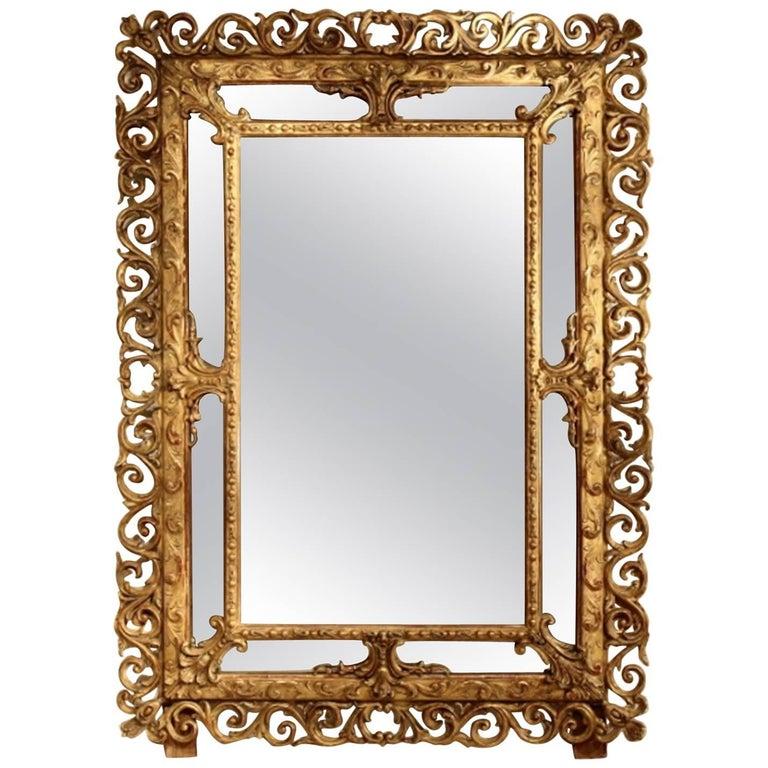 Large 19th Century French Cushion Mirror