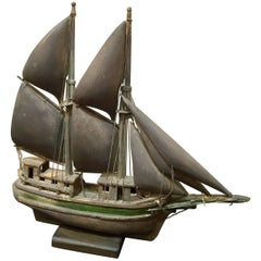 Folk Art Painted Wood Ship Model Early 20th Century