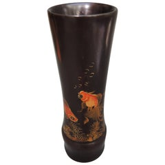Japanese Hand-Painted Lacquered Wood Vase Showing Fantail Goldfish