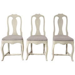 Three Swedish 18th Century Dining Chairs