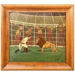 Great WPA 1930s Lion Tamer Circus Painting by R. G. Fiege