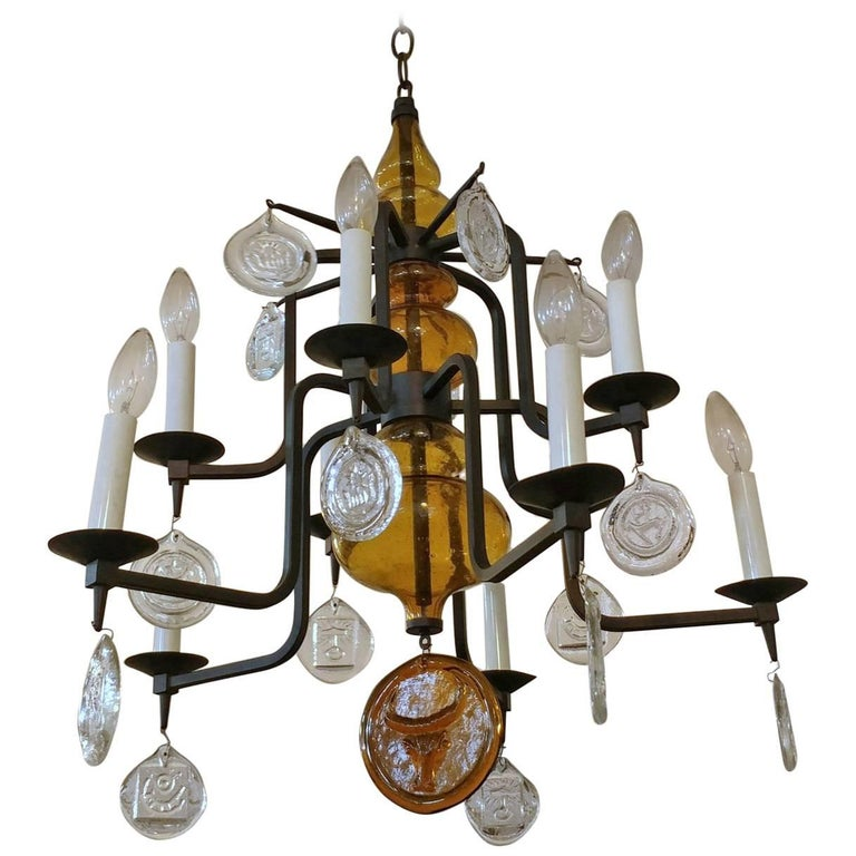 Erik Hoglund for Kosta Boda Art Glass and Iron Chandelier, Offered by La Porte For Sale