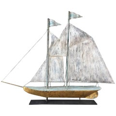 Large Ship Weathervane with Great Surface, circa 1920