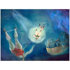 """""""the High Flying Trapeze"""" 1940s Watercolor by David Cohen"""