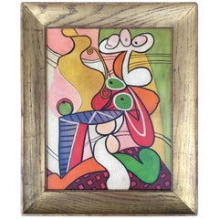 Abstract Cubist Still Life Painting, circa 1950s