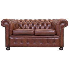 Chesterfield Leather Sofa Brown Two-Seat Couch Vintage Retro