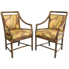 Pair of McGuire Rattan Target Back Dining Arm Chairs Bulls Eye Wicker Bamboo