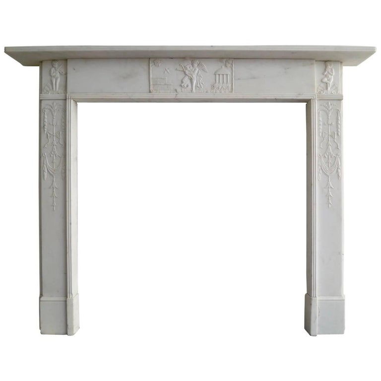 George III Statuary White Marble Fireplace Marble