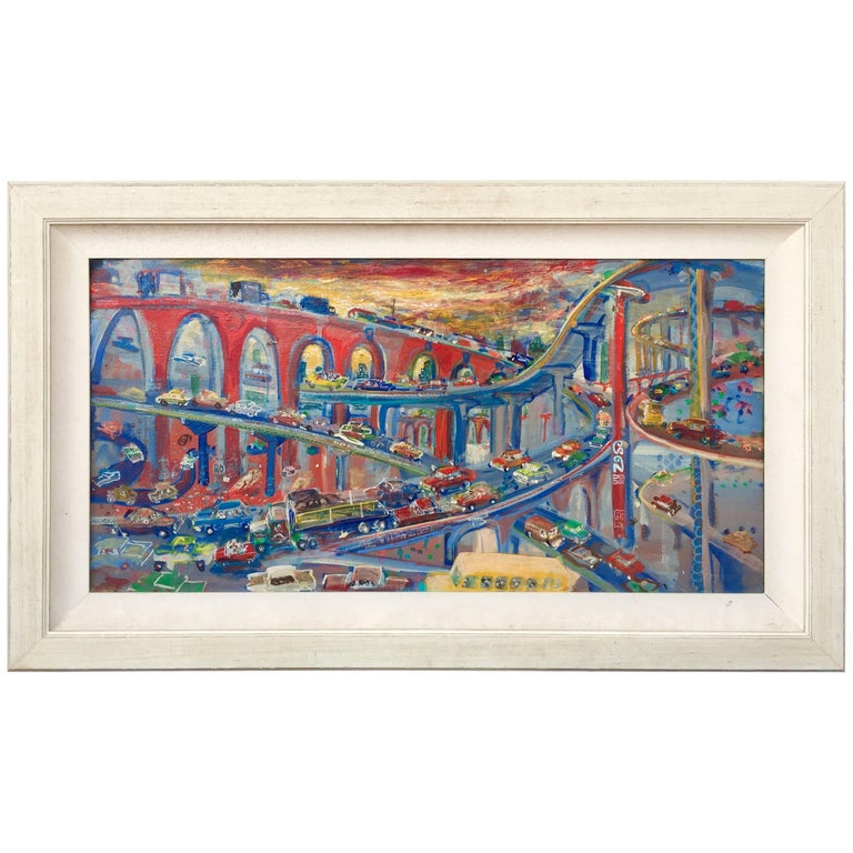 Vintage 1960, Painting of the Busy Thoroughfare American School