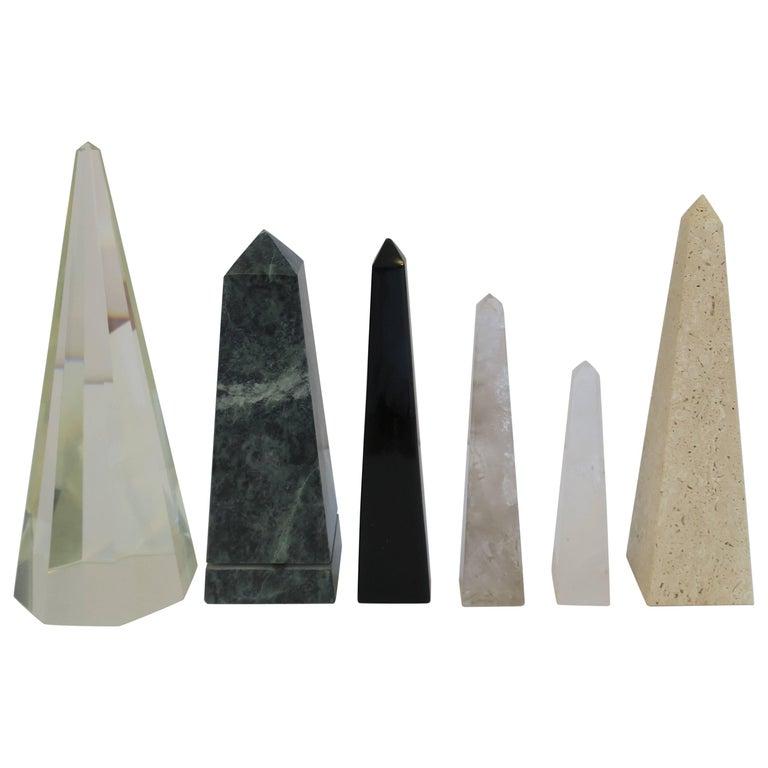 Modern Marble and Crystal Obelisk Sculptures