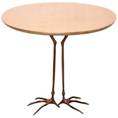 Early Bronze and Gold Leaf Wood Traccia Coffee Table by Meret Oppenheim