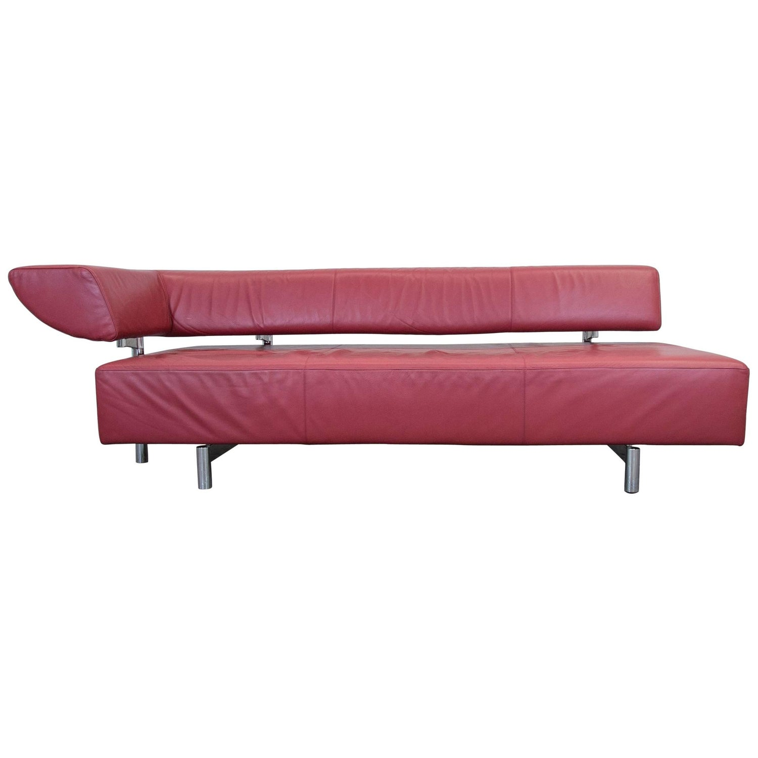 COR Arthe Designer Leather Sofa Red Three Seat Couch Recamiere