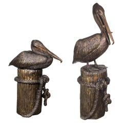 Huge Pair of Solid Bronze Pelicans on Mooring Posts Fountains, Late 20th Century