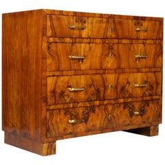 Art Deco Commode Chest of Drawers in Burl Walnut, Osvaldo Borsani Attributable