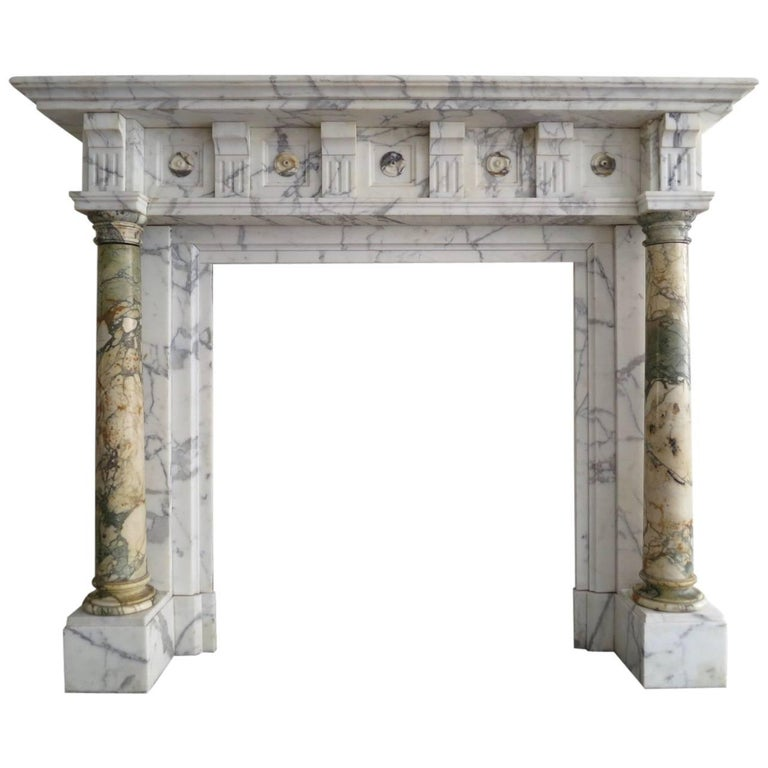 Antique Arabescato and Breche Columned Marble Fireplace Mantle 1