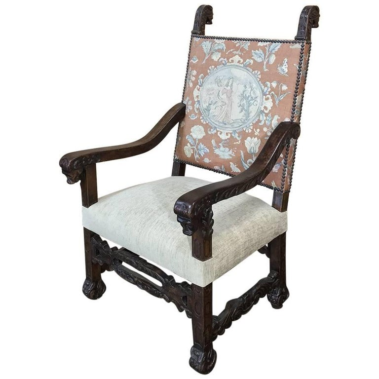 19th Century French Hand Carved Armchair with Original Tapestry For Sale