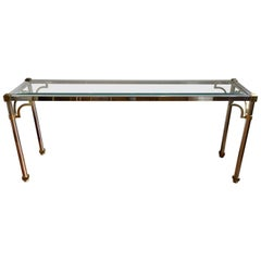 John Vesey Style Brass and Chrome Console Table