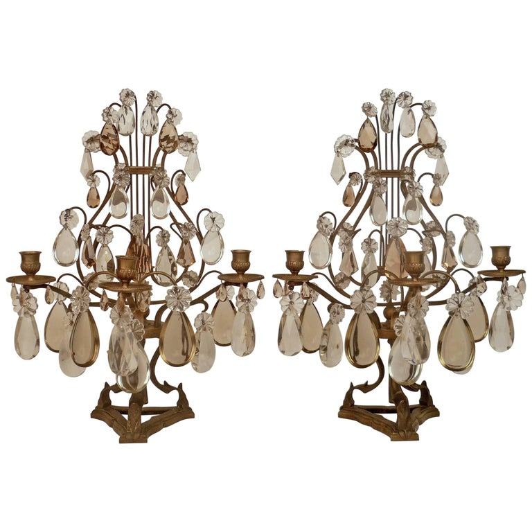 Pair of Louis XVI Style Bronze and Crystal Girandoles For Sale