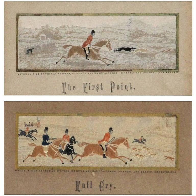 Pair of Framed 19th Century English Woven Silk Equestrian Fox ...
