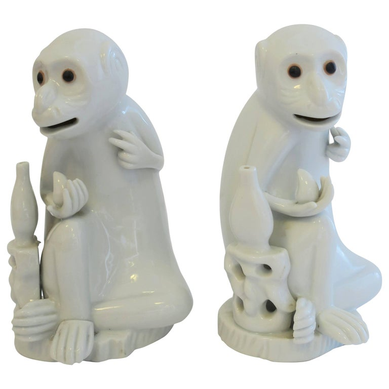 Pair Vintage Blanc de Chine White Porcelain Monkey Sculptures