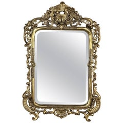 Mid-19th Century Italian Baroque Giltwood Mirror
