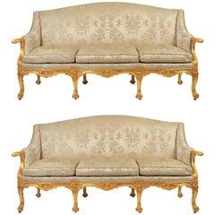Pair of 19th Century Gilded English Sofas