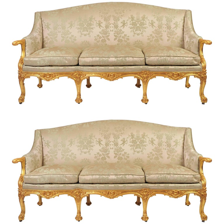 pair of 19th century gilded english sofas for sale at 1stdibs. Black Bedroom Furniture Sets. Home Design Ideas