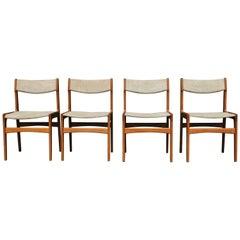 Erik Buch Teak Dinning Chairs Four Pieces, Denmark