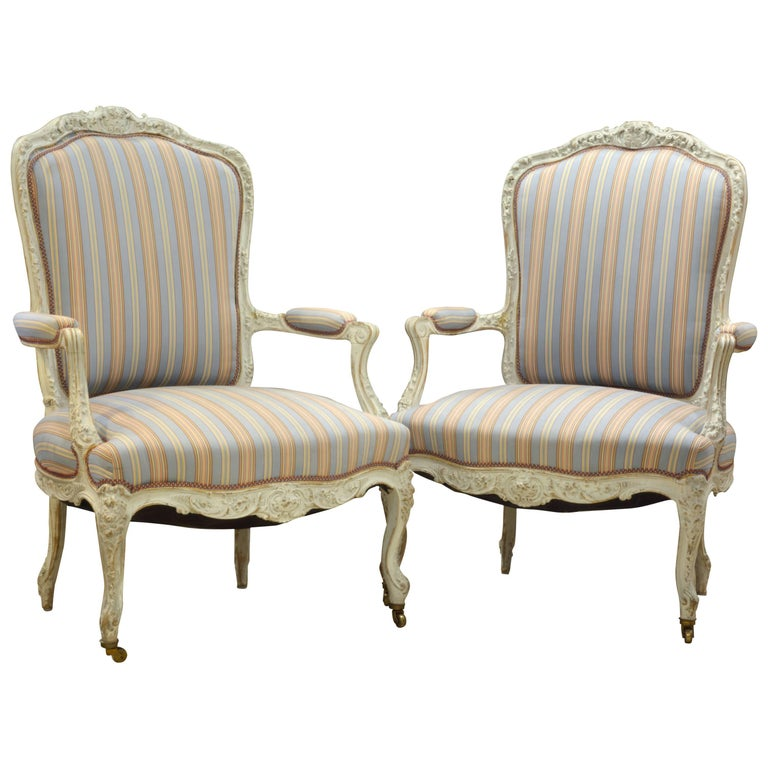 Pair of Charming Late 19th Century French Louis XV Style Painted Open Armchairs For Sale