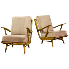 Mid-Century Art-Deco Influenced Spindle Back Lounge Chairs, 1950s