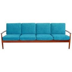 Danish Modern Long Teak Sofa by Grete Jalk