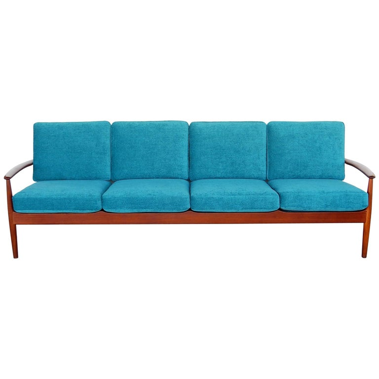 Danish modern long teak sofa by grete jalk for sale at 1stdibs for Long couches for sale