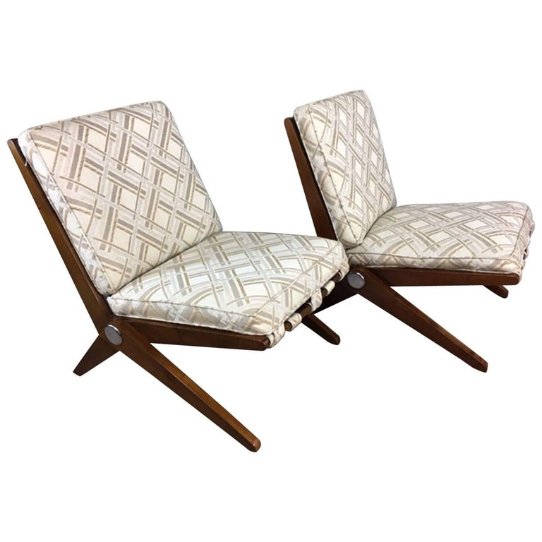 Pierre Jeanneret Sissor Lounge Chair, Pair For Sale