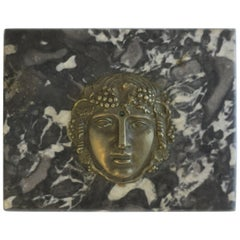 Italian Black and White Marble and Brass Decorative Sculpture or Paperweight