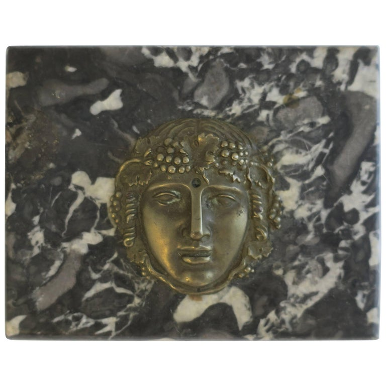 Italian Black and White Marble and Brass Sculpture Paperweight For Sale