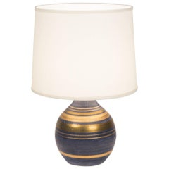 Gold Striped Ceramic Table Lamp, French, 1960s