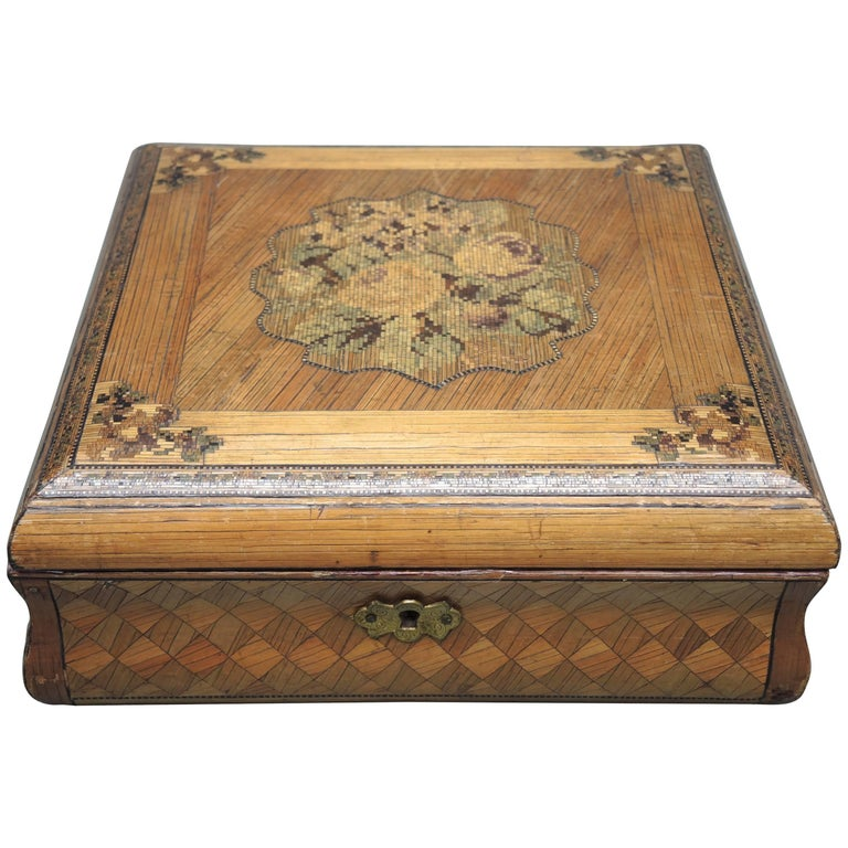 19th Century French Straw Work Inlaid Folk Art Box