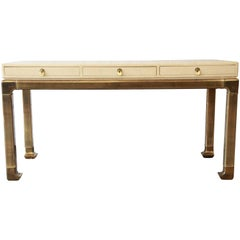 Mastercraft Brass and Faux Shagreen Chinoiserie Desk