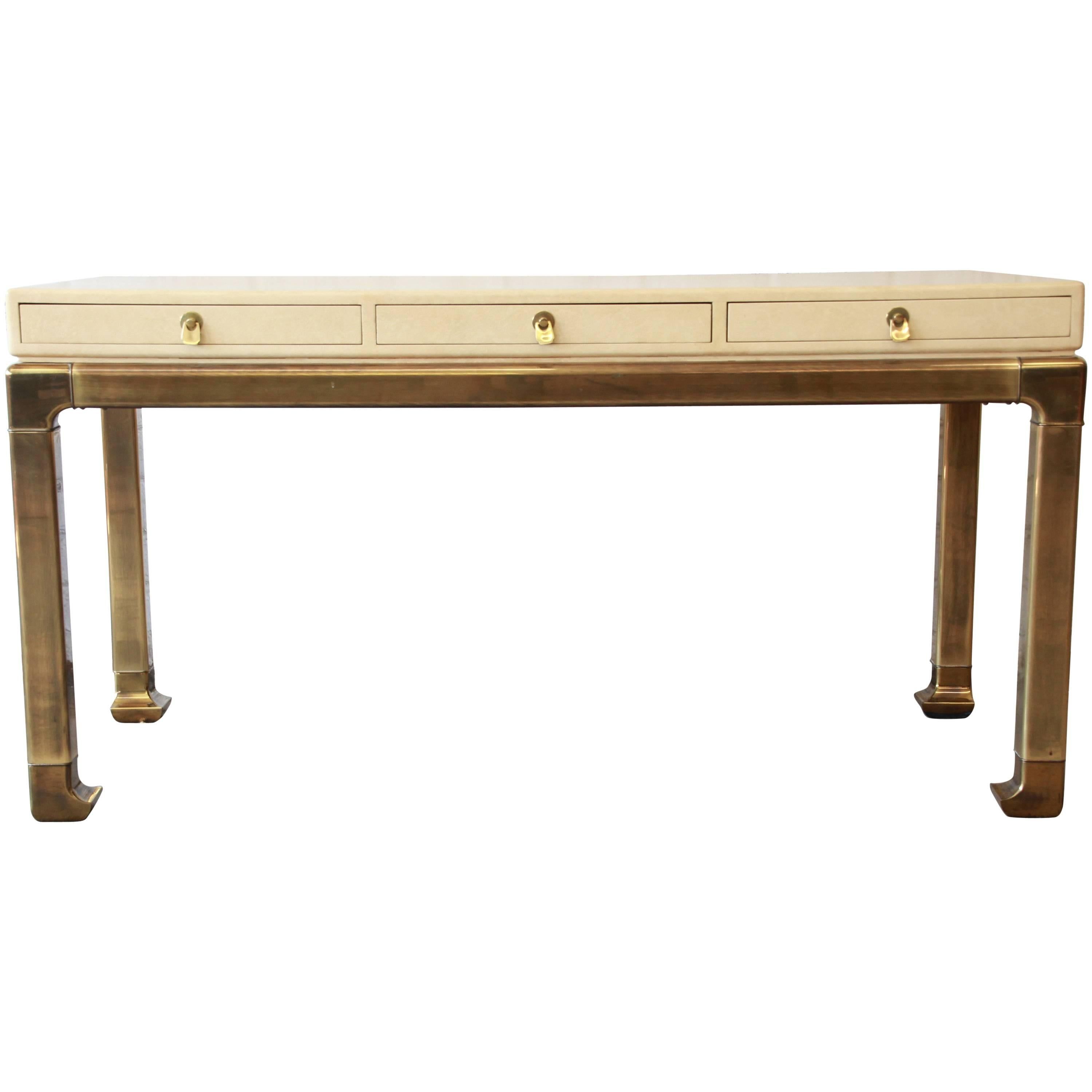 Mastercraft Brass And Faux Shagreen Chinoiserie Desk 1