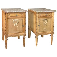 Pair of Antique Italian Neoclassical Fruitwood Marble Top Nightstands