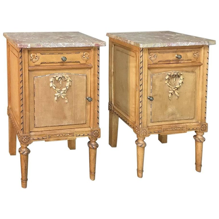 pair of antique italian neoclassical fruitwood marble top Marble Top Nightstand
