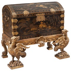 18th Century Chinese Lacquer Chest on an English Giltwood Stand