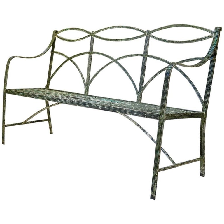 Regency Iron Bench, England, Early 19th Century