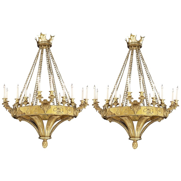 20th century pair of gilt bronze chandeliers in the gothic revival 20th century pair of gilt bronze chandeliers in the gothic revival manner for sale aloadofball Images