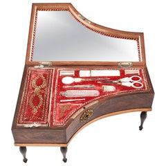 Antique French Palais Royal Mahogany Sewing Box