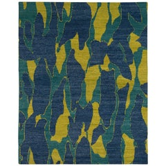 Blue and Chartreuse Camouflage Print Area Rug Wool