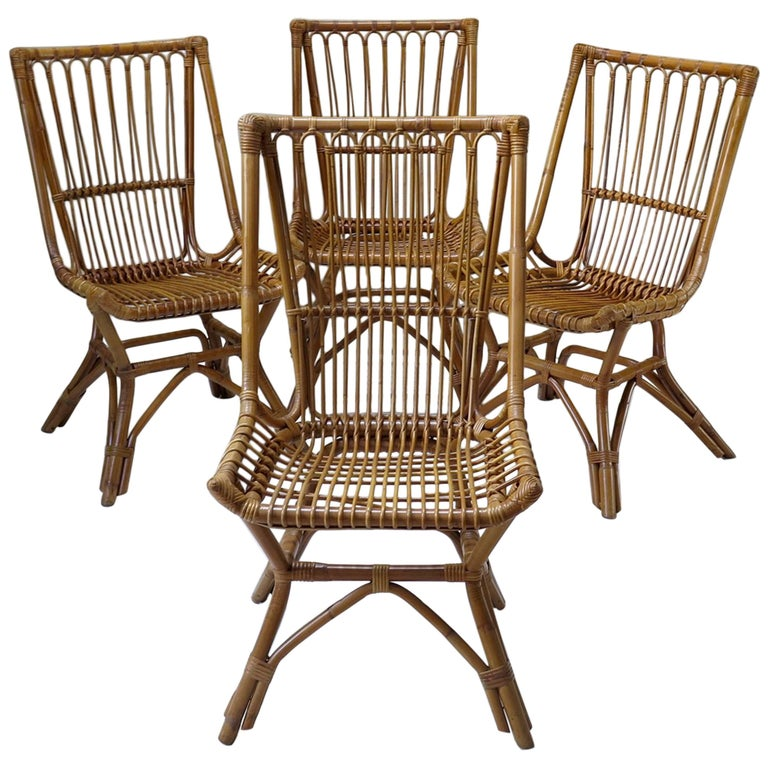 Six French Mid-Century Wicker Chairs