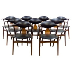 Dutch Design Cow Horn Dining Chairs by Louis Van Teeffelen for AWA, Set of Nine