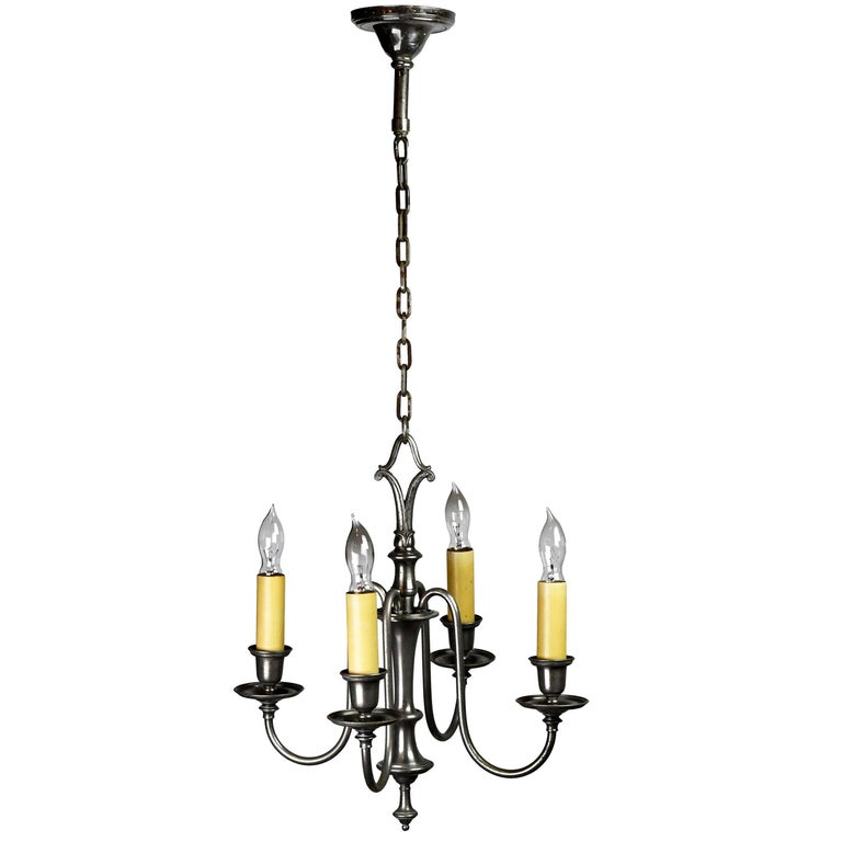 Silver Plated Bradley & Hubbard Four-Arm Chandelier For Sale