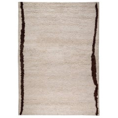 Contemporary Cream Wool Shag Area Rug